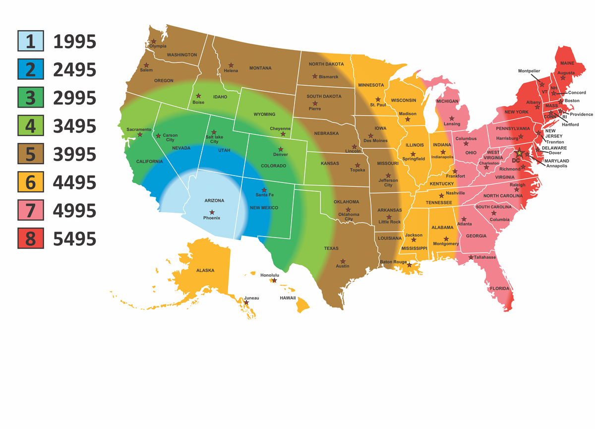 USA map with color chart