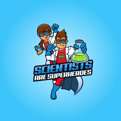Scientist Superhero Logo
