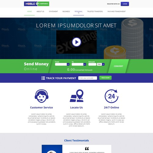 A website for a Money Transfer group based in UK