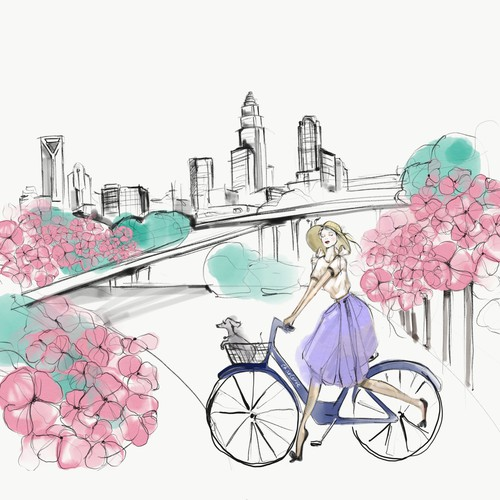 Fashion digital watercolor illustration