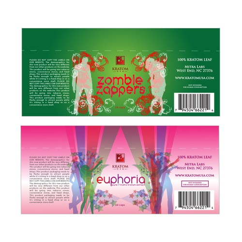 ZOMBIE ZAPPERS/EUPHORIA Product label for Kratom USA