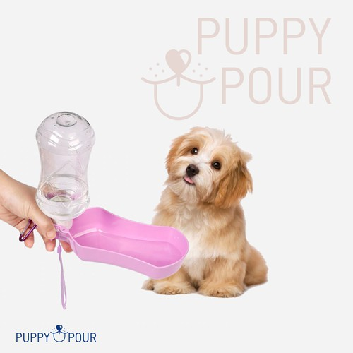 simple line logo for portable dog water bottle
