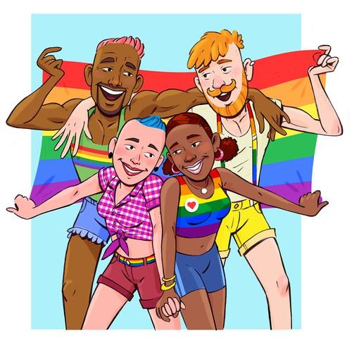 Illustrated Logo for Manchester's LGBTQ+ Bookshop