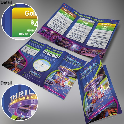 Thrills Laser Tag and Arcade Trifold Brochure