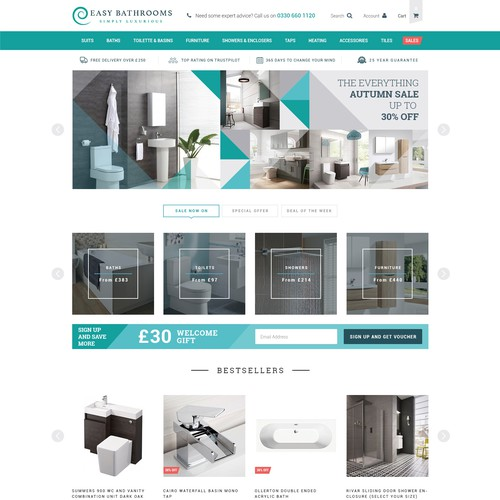 Create Magento Product Page, Home Page etc. for Bathroom Retailer