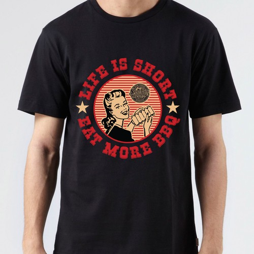 Create a Super cool T.shirt design for an American Style BBQ Food truck!!