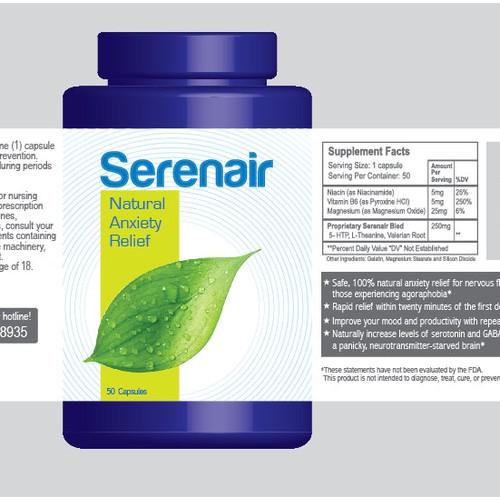 Serenair Anxiety relief capsule label