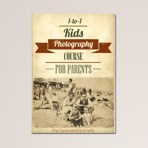 Vintage-inspired flyer for 1-to-1 kids photography workshops for parents