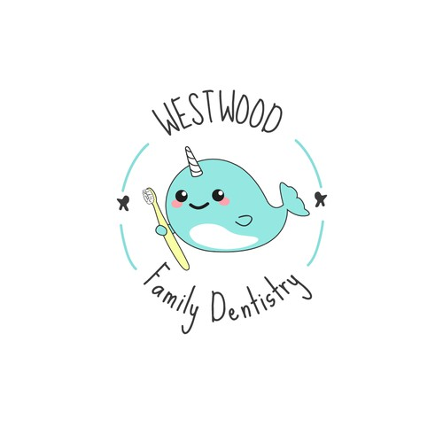 Logo for a Family Dentist who loves Narwahls.