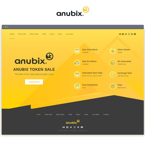 Landing page design for cryptocurrency token sale