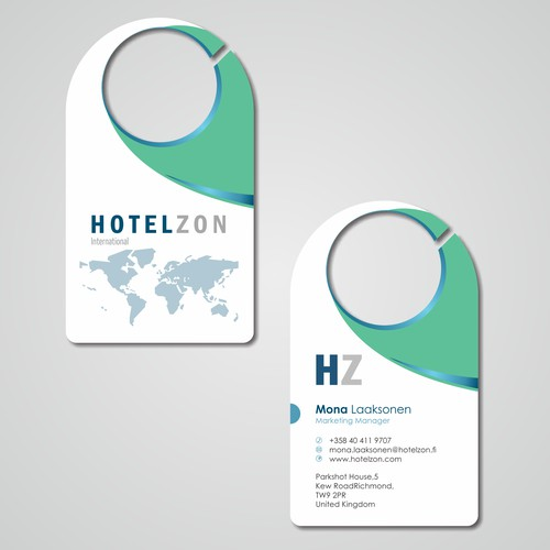Create a professional business cards for Hotelzon with a cool twist