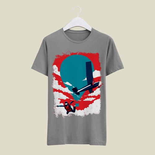 Sky diving t-shirt illustration
