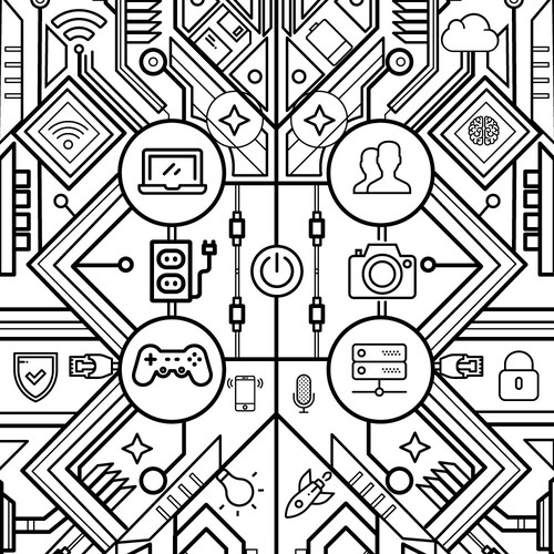 Adult Coloring book page: tech