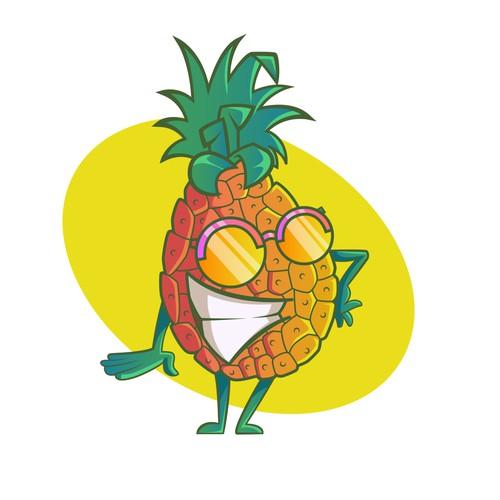 Cool and Happy Pineapple cartoon