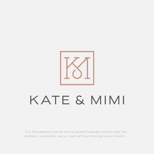 Elegant KM monogram for Kate & Mimi