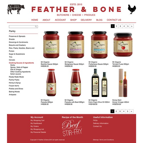 Website Product Page design for High End Online gourmet grocer