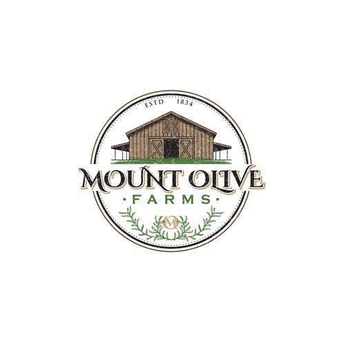 Vintage illustrative logo design for mount olive farms