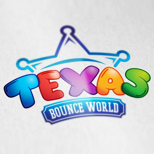 Logo design for Texas Bounce World party rentals.