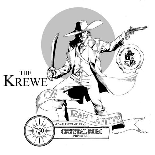 "Label for ""Krewe of Jean Lafitte"" brand distilled spirits"
