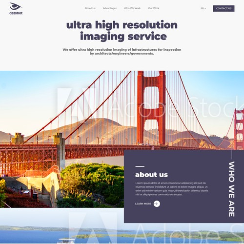 Website for ultra high resolution imaging for infrastructure