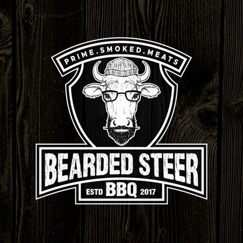 Hipster BBQ joint logo design