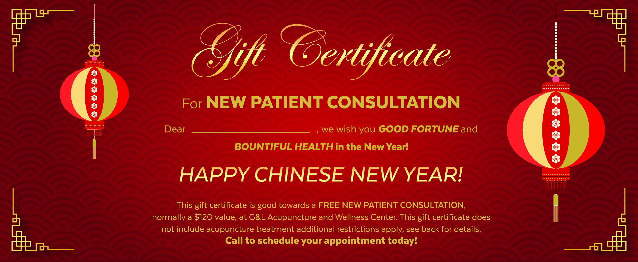 Design a Chinese New Years themed gift certificate!