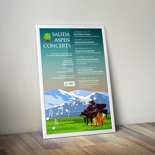 Poster design for annual event, 'Salida Aspen Concerts', in Salida, Colorado.