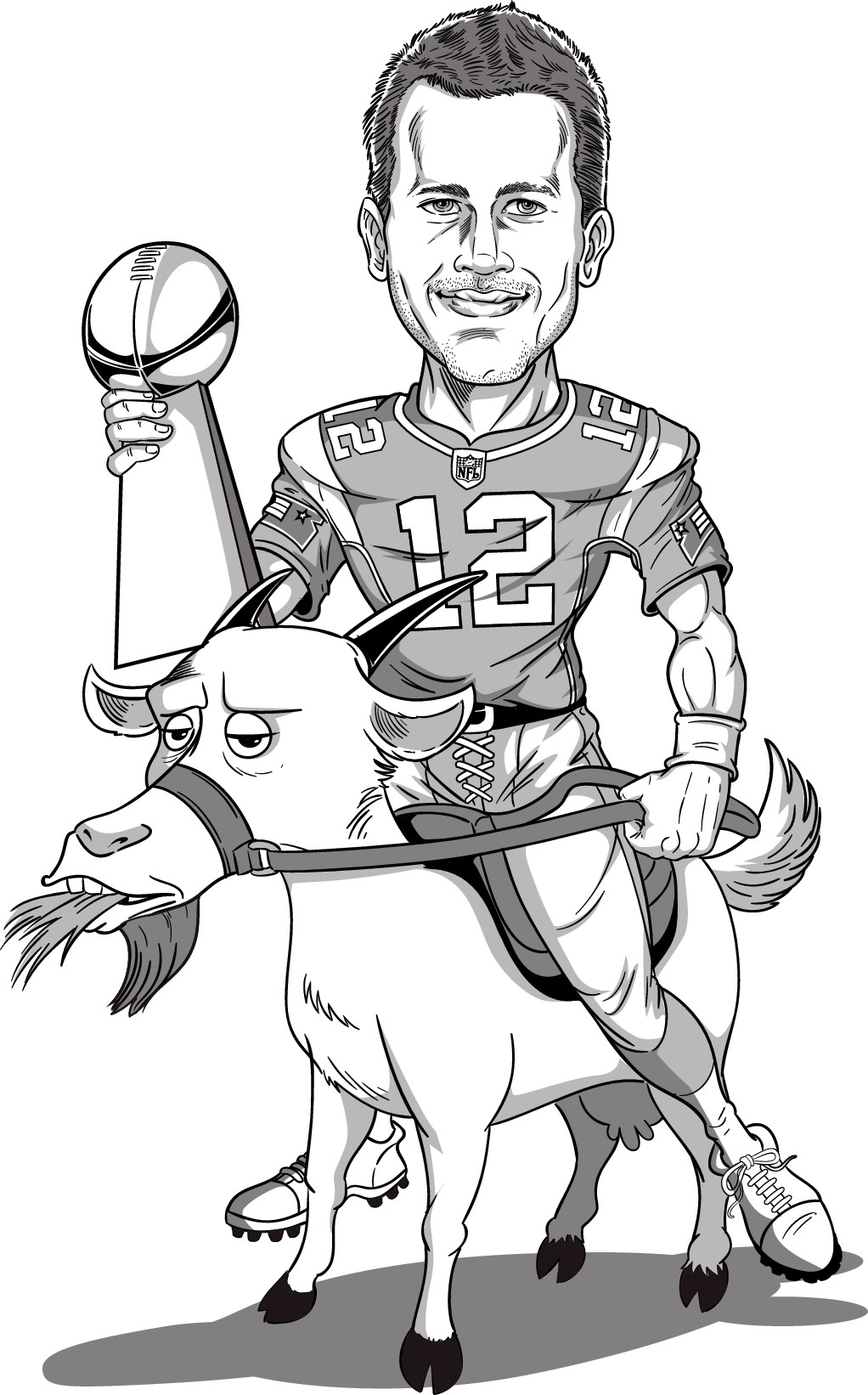 Mr. Brady riding a goat.