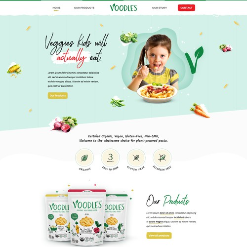 Fun oriented home page design.