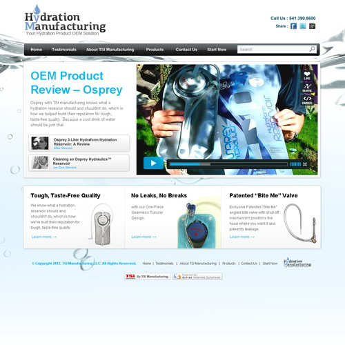 website design for HydrationManufacturing.com