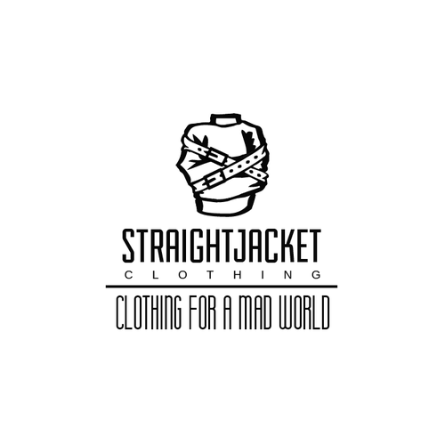 Silhouette-like logo for Straight Jacket Clothing ideal for vinyl prints