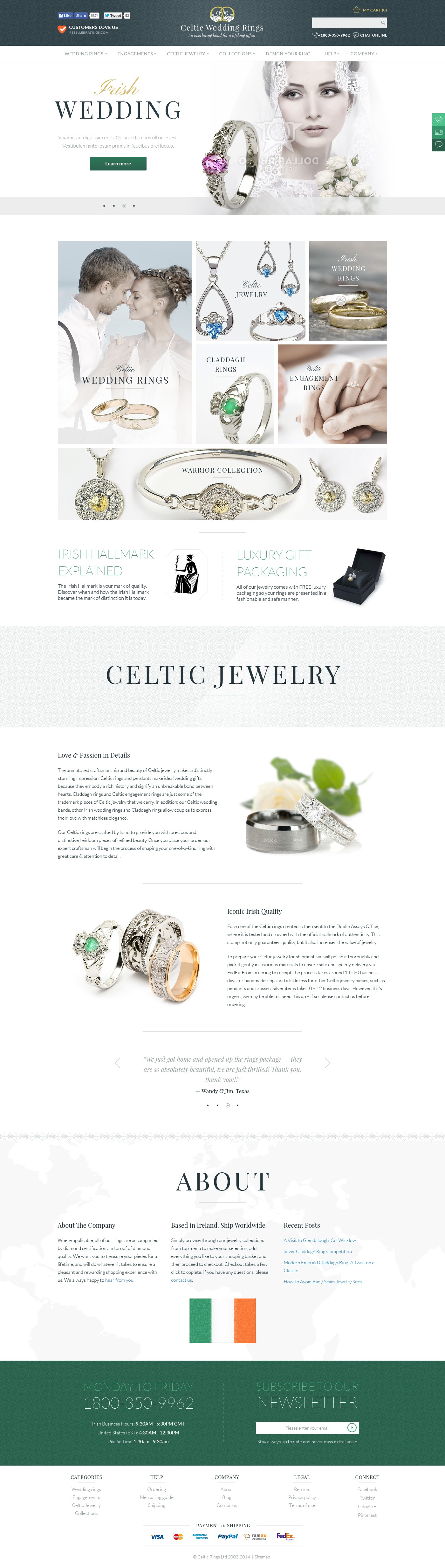 Redesign of Ireland's largest online Jewelry store.