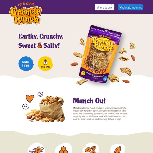 Fun Landing page for Granola Munch Product