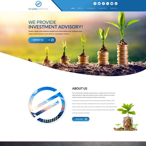Homepage design for investment manager