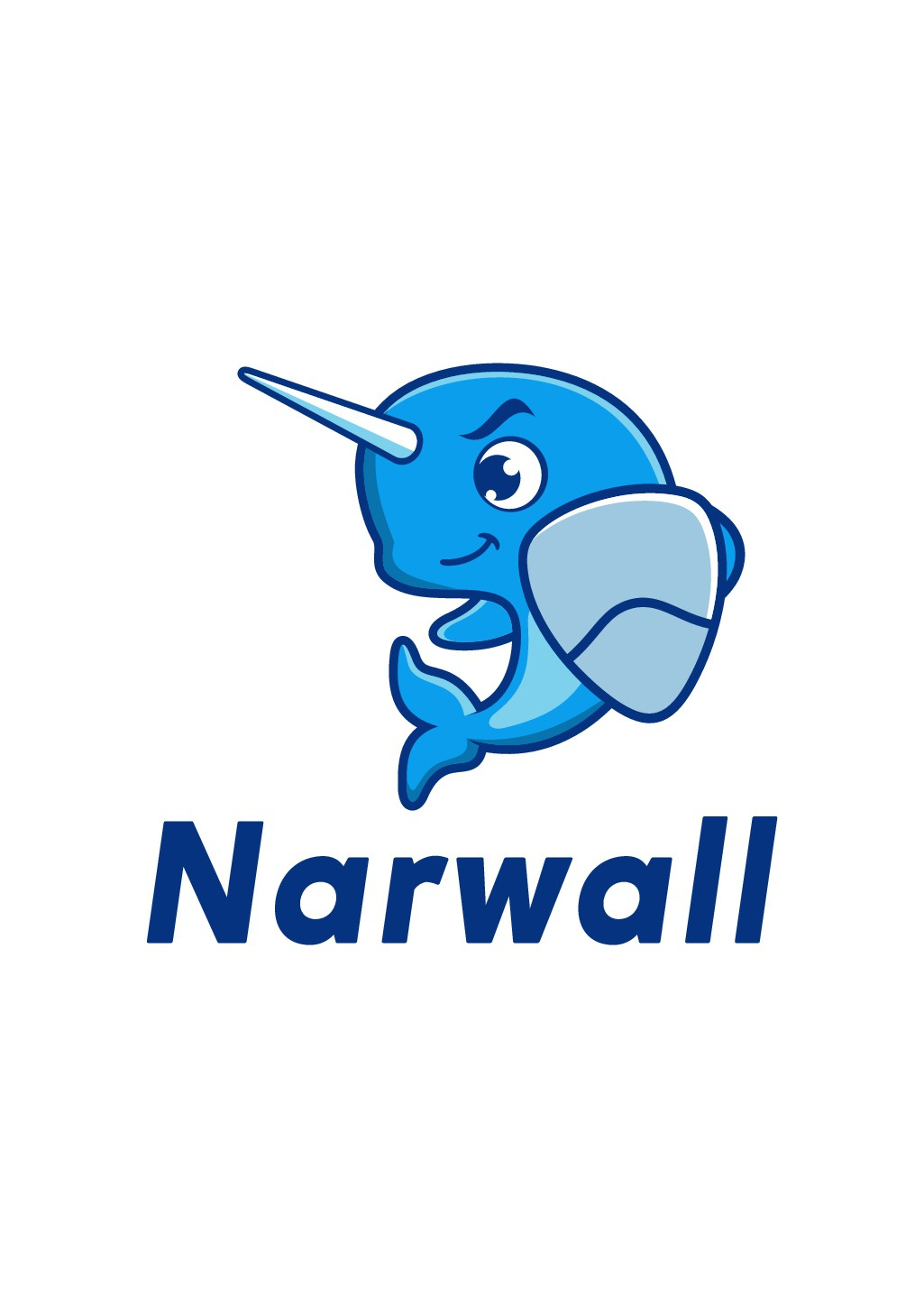 Create a cute, premium narwhal mascot for a bold, innovative COVID mask