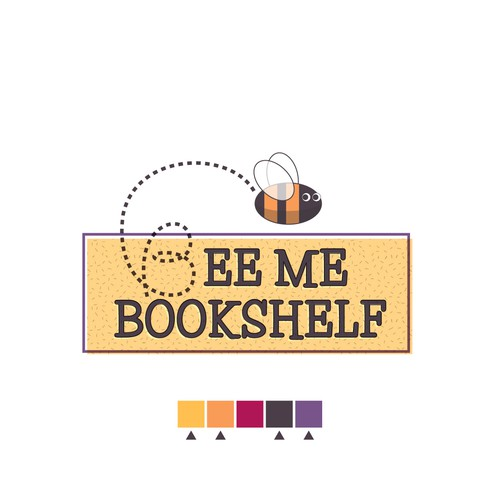 Create a clean and vintage logo for a children's books service with bee as inspiration