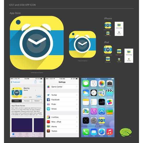 Brilliant alarm app icon renewal [#1 in 70 countries appstore]