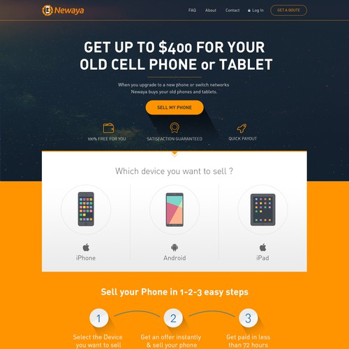 Visually Appealing Design for online used Cell Phone trade-in program.