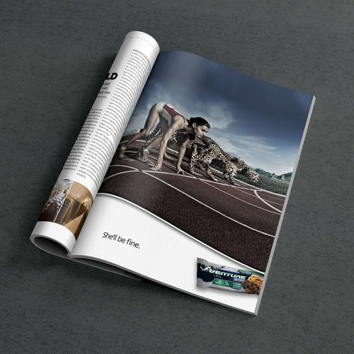 Magazine ad for energy bar.