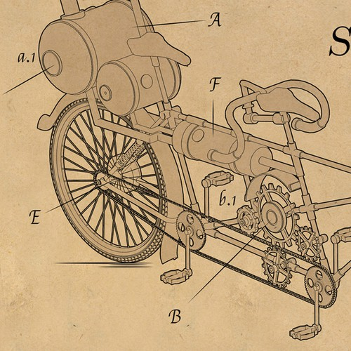 Steampunk tandem bicycle concept