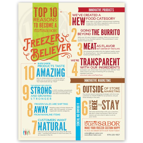 Create an infographic for Buen Sabor - a most exciting food startup!