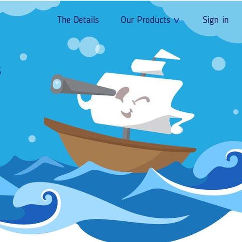 Cute Boat and Wave Illustration