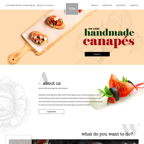 Home page design for a  catering company