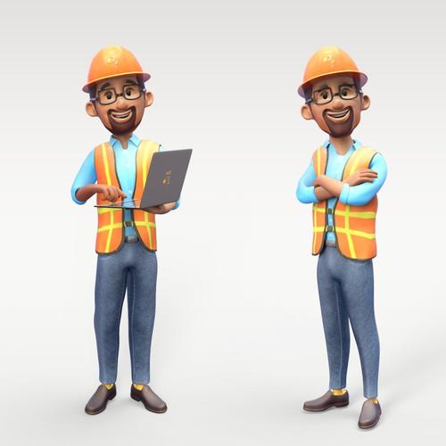 Mascot 3d construction worker