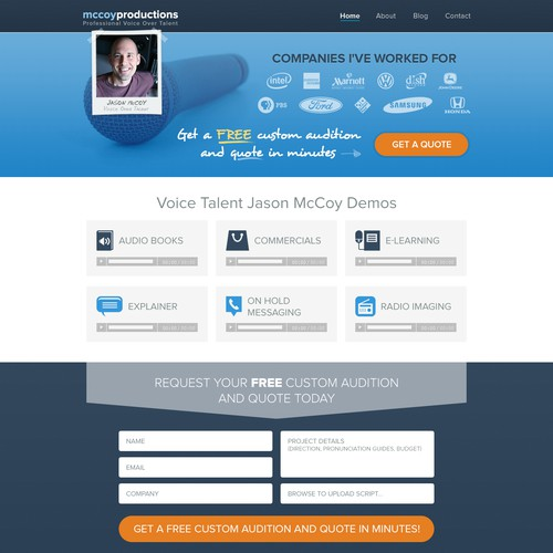 Create an Upbeat and Engaging Landing Page for McCoy Productions
