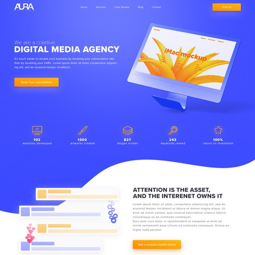 Modern landing page for marketing agency.