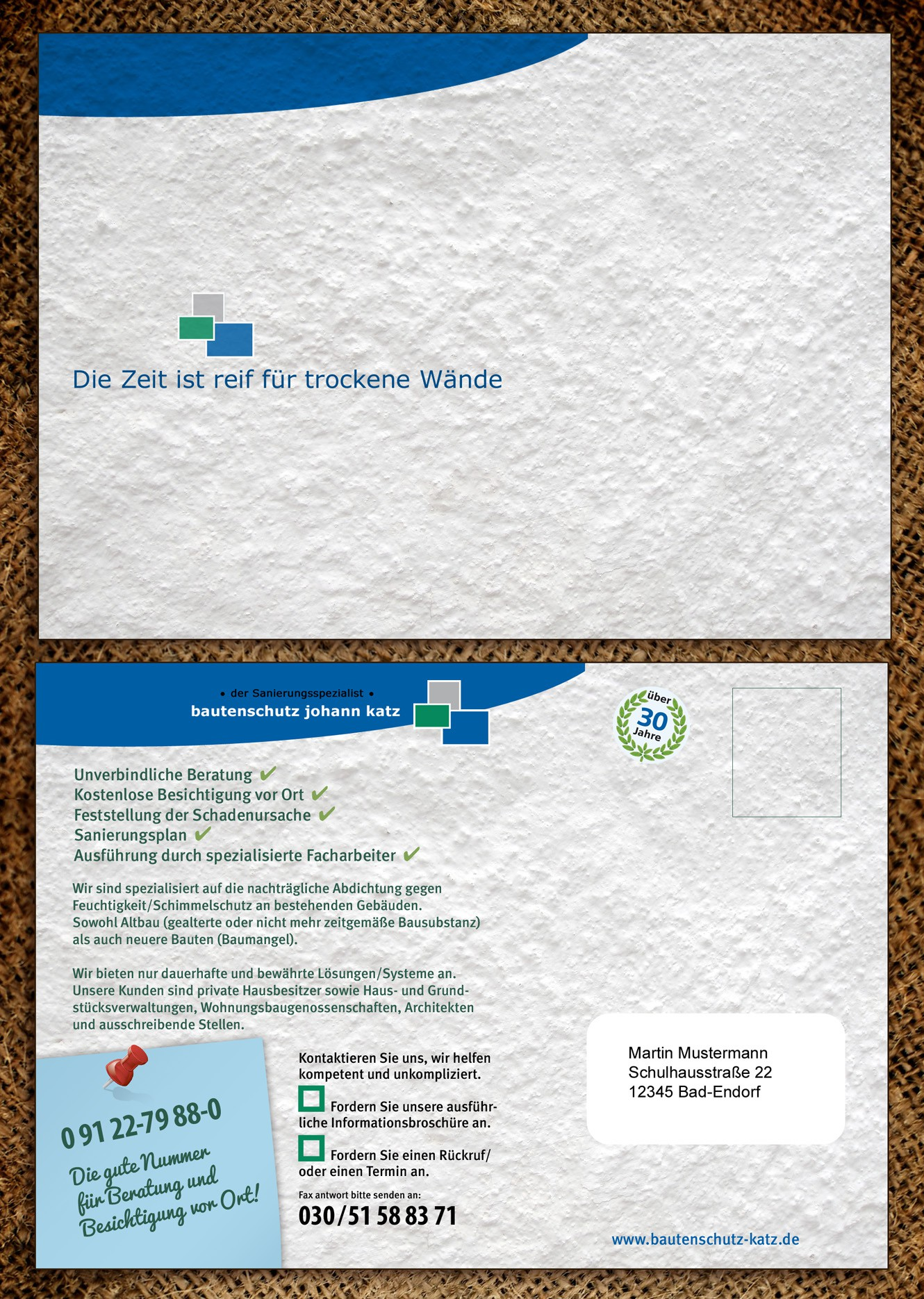 postcard or flyer für bautenschutz johann katz GmbH