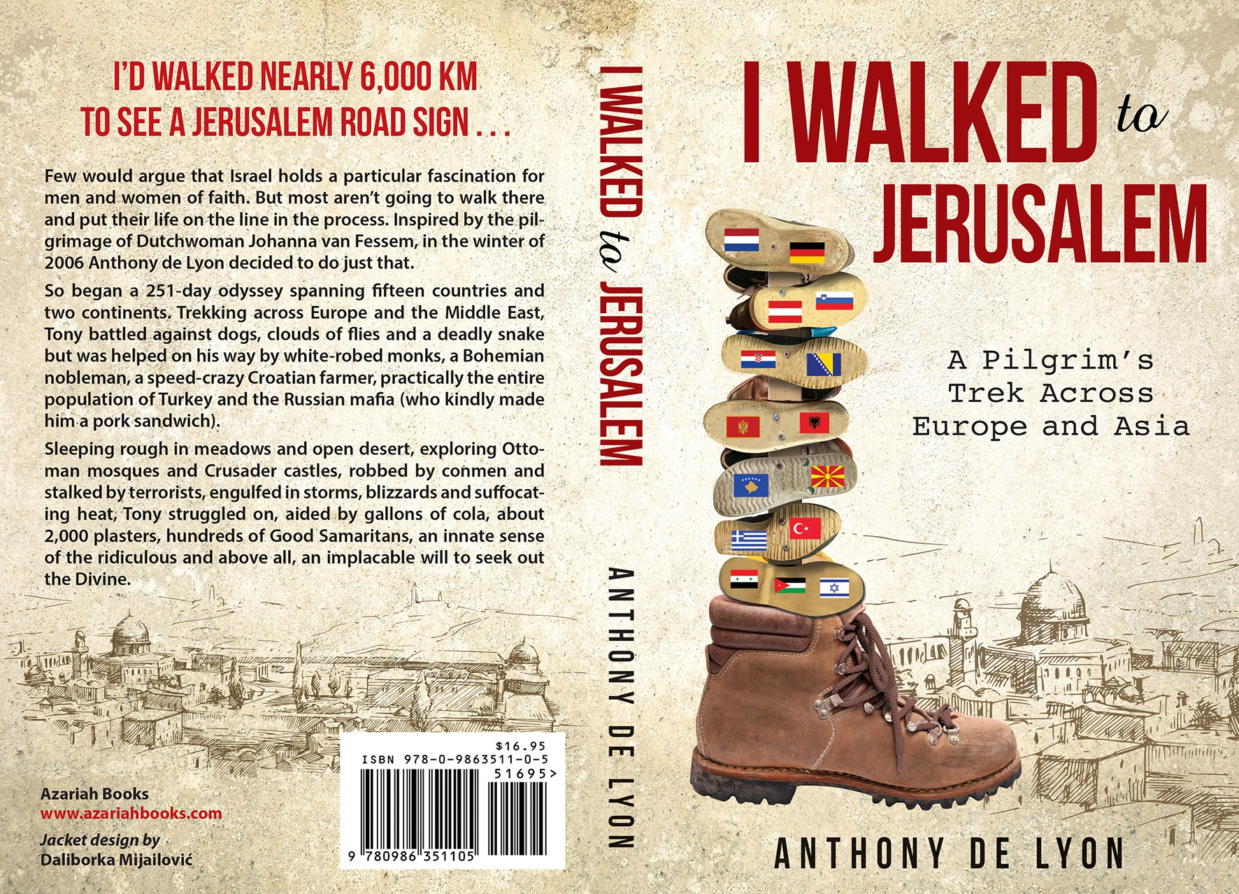 Design a stunning cover for my book which describes how I walked 6,000 km through 15 countries.