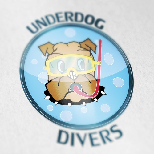 Funny bulldog diver, for children.