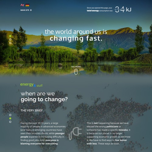Landing page for global nonprofit project